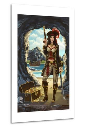 Pirate Pinup Girl-Lantern Press-Metal Print