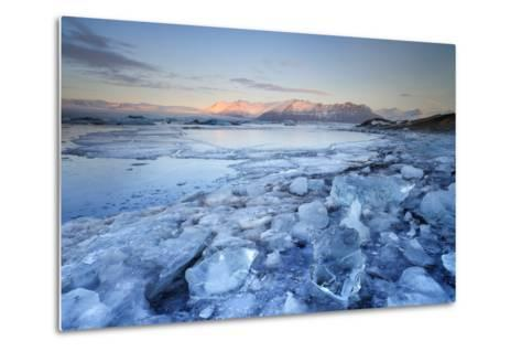 Iceland, South Iceland, Jokulsarlon Lagoon During the First Light of Sunrise-Fortunato Gatto-Metal Print