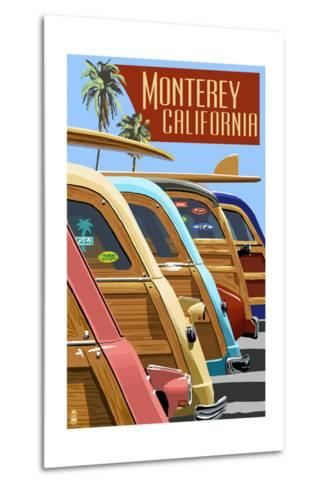 Monterey, California - Woodies Lined Up-Lantern Press-Metal Print