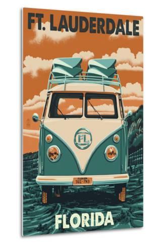 Ft. Lauderdale, Florida - VW Van-Lantern Press-Metal Print