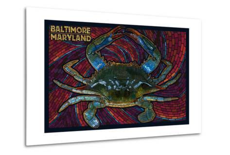 Baltimore, Maryland - Blue Crab Paper Mosaic-Lantern Press-Metal Print