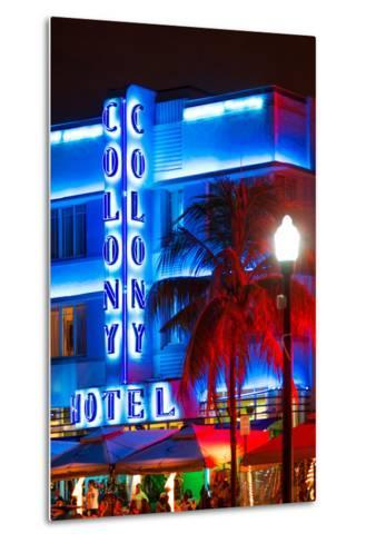 Ocean Drive with the Colony Hotel by Night - Miami Beach - Florida - USA-Philippe Hugonnard-Metal Print