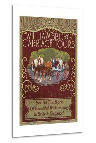 Williamsburg, Virginia - Carriage Tours Vintage Sign-Lantern Press-Metal Print