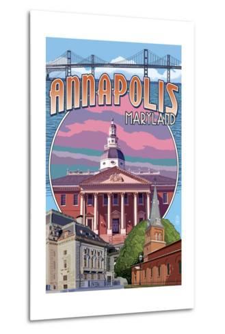 Annapolis, Maryland - Montage-Lantern Press-Metal Print
