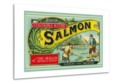Oregon - Columbia River - the Oregon Historical Society Salmon Label-Lantern Press-Metal Print