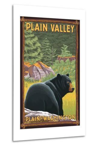 Plain, Washington - Black Bear in Forest-Lantern Press-Metal Print