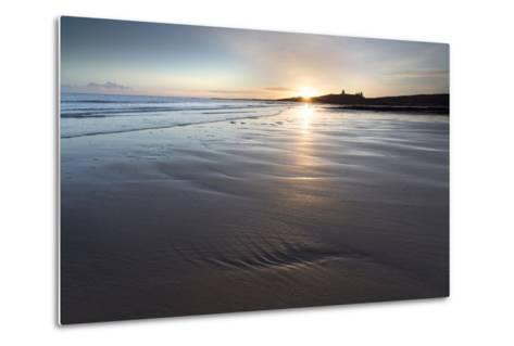View over Embleton Beach at Sunrise Towards the Silhouetted Ruin of Dunstanburgh Castle-Lee Frost-Metal Print
