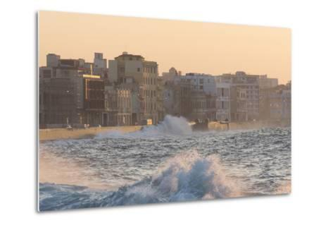 Buildings Along the Malecon in Soft Evening Sunlight with Large Waves Crashing Against the Sea Wall-Lee Frost-Metal Print