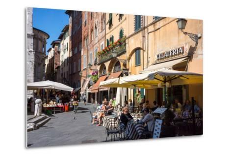 Picturesque Street in Lucca, Tuscany, Italy, Europe-Peter Groenendijk-Metal Print
