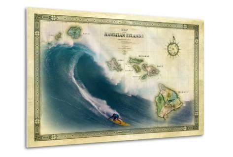 A 1876 Centennial Map of the Hawaiian Islands Depicting a Surfer on the Waves of Maui-Patrick McFeeley-Metal Print