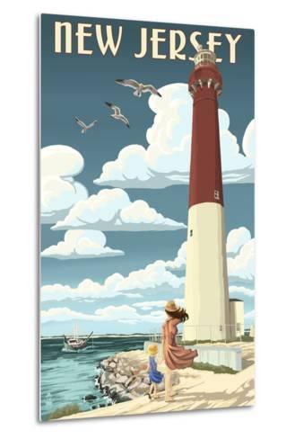 New Jersey - Lighthouse Scene-Lantern Press-Metal Print