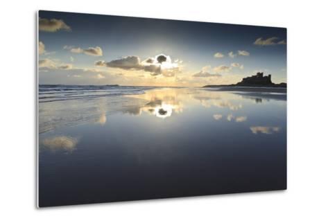 Bamburgh and Farne Island Winter Reflections, Bamburgh, Northumberland, England-Eleanor Scriven-Metal Print