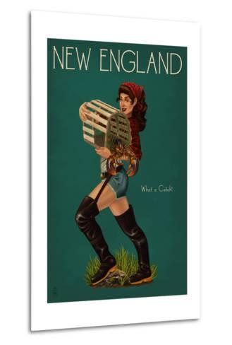 New England - Lobster Fishing Pinup-Lantern Press-Metal Print