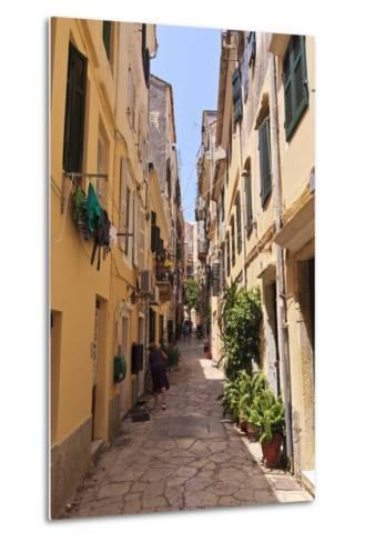 Narrow Street with Lady Sweeping, Old Town, Corfu Town-Eleanor Scriven-Metal Print
