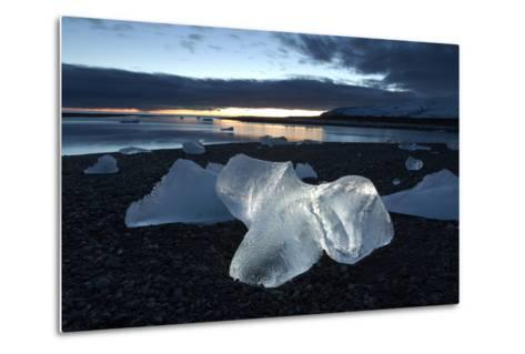 Icebergs at Sunset on Jokulsa Beach, on the Edge of the Vatnajokull National Park, South Iceland-Lee Frost-Metal Print