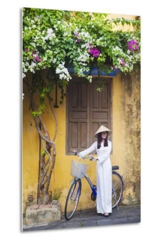 Woman Wearing Ao Dai Dress with Bicycle, Hoi An, Quang Ham, Vietnam-Ian Trower-Metal Print