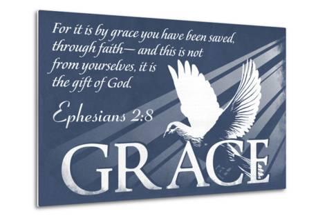 Ephesians 2:8 - Inspirational-Lantern Press-Metal Print