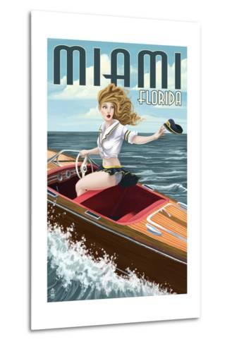 Miami, Florida - Pinup Girl Boating-Lantern Press-Metal Print