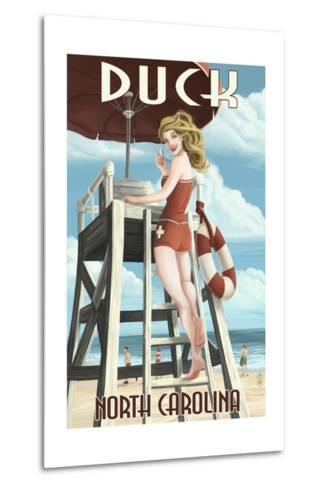Duck, North Carolina - Lifeguard Pinup-Lantern Press-Metal Print