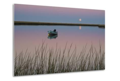 Moonrise at Sunset and a Lone Boat in Salt Pond Bay, Eastham, Cape Cod, Massachusetts-Michael Melford-Metal Print