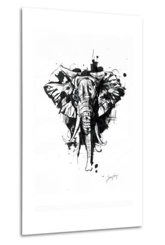 Inked Elephant-James Grey-Metal Print