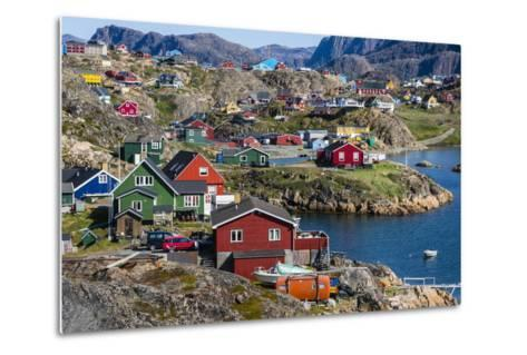 View of the Brightly Colored Houses in Sisimiut, Greenland, Polar Regions-Michael Nolan-Metal Print
