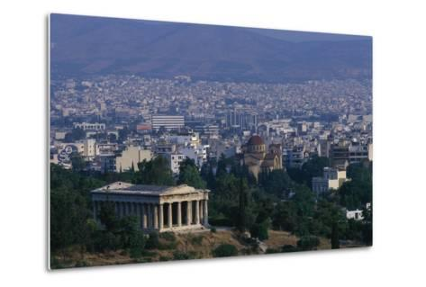 Hephaistion Temple Overlooking Athens-Paul Souders-Metal Print