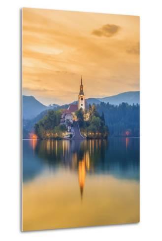 Slovenia, Julian Alps, Upper Carniola, Bled, Lake Bled, Bled Island (Blejski Otok) with Church-Alan Copson-Metal Print