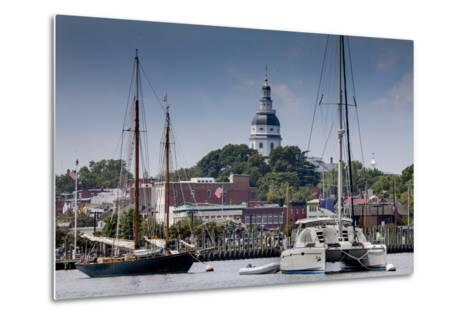 Downtown Annapolis and the State Capitol Dome Seen from the Waterfront-Kent Kobersteen-Metal Print