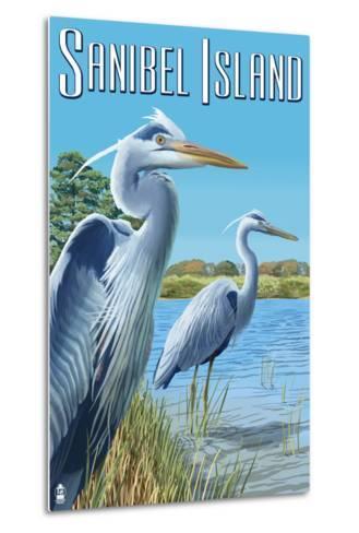 Blue Heron - Sanibel Island, Florida-Lantern Press-Metal Print