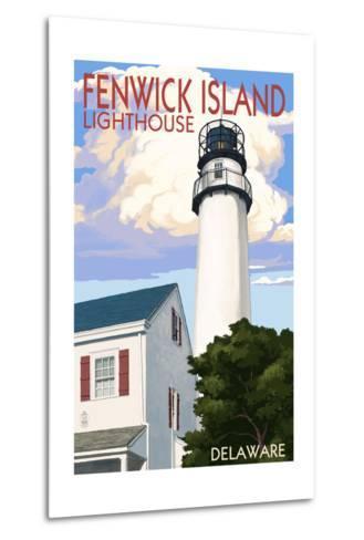 Fenwick Island, Delaware - Lighthouse-Lantern Press-Metal Print