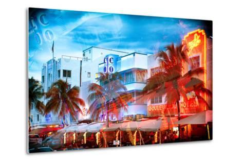 Instants of Series - Colorful Ocean Drive - South Beach - Miami Beach Art Deco Distric - Florida-Philippe Hugonnard-Metal Print