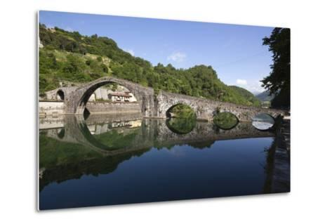 Medieval Bridge of Ponte Della Maddalena on the River Serchio, Borgo a Mozzano, Near Lucca-Stuart Black-Metal Print