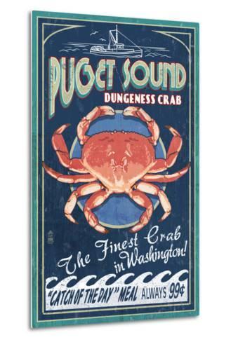 Puget Sound, Washington - Dungeness Crab Vintage Sign-Lantern Press-Metal Print