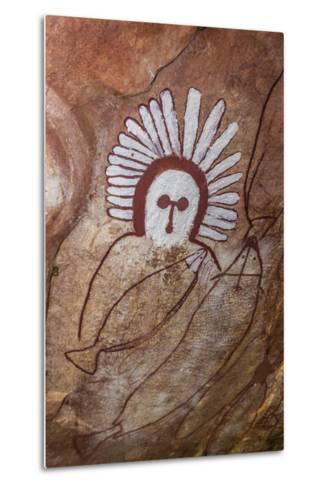 Aboriginal Wandjina Cave Artwork in Sandstone Caves at Raft Point, Kimberley, Western Australia-Michael Nolan-Metal Print