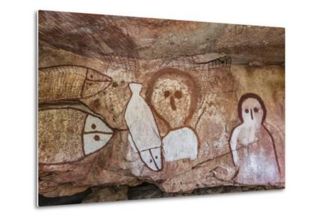 Aboriginal Wandjina Cave Artwork in Sandstone Caves at Raft Point, Kimberley, Western Australia-Michael Nolan-Metal Print