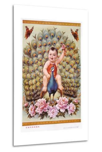 Chinese New Year's Poster with Baby Boy Riding Peacock--Metal Print