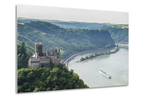 Castle Katz and the Lorelei Above the River Rhine, St. Goarshausen, Rhine Gorgegermany, Europe-Michael Runkel-Metal Print