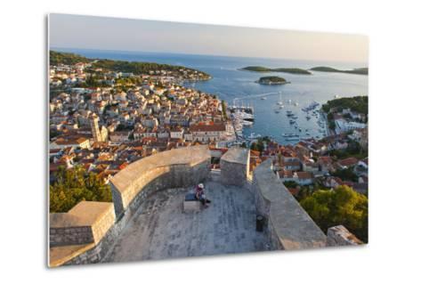 Hvar Town and Tourists at Hvar Spanish Fort (Fortica) at Sunset-Matthew Williams-Ellis-Metal Print