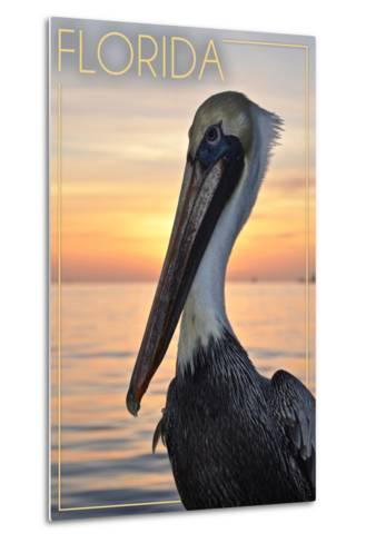 Florida - Pelican-Lantern Press-Metal Print