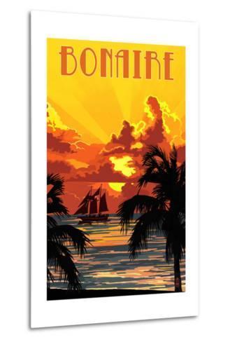 Bonaire, Dutch Caribbean - Sunset and Ship-Lantern Press-Metal Print