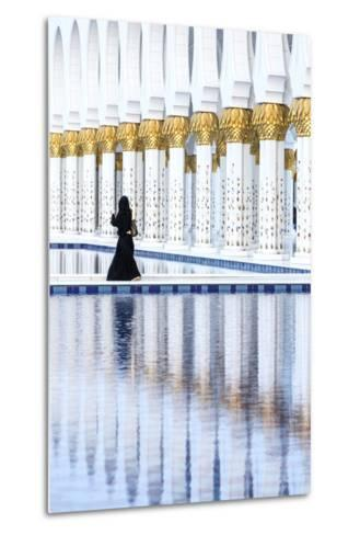 United Arab Emirates, Abu Dhabi. Arabic Woman Walking Inside Sheikh Zayed Grand Mosque-Matteo Colombo-Metal Print