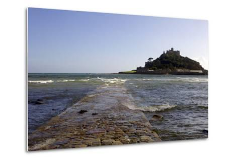 The Old Stone Causeway Leading to St. Michaels Mount Submerged by the Incoming Tide-Simon Montgomery-Metal Print