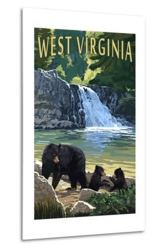 West Virginia - Waterfall and Bears-Lantern Press-Metal Print