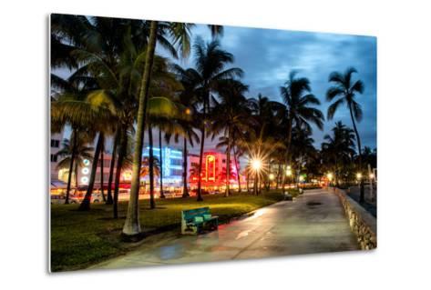 Colorful Street Life - Ocean Drive by Night - Miami-Philippe Hugonnard-Metal Print