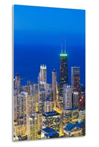 USA, Illinois, Chicago. Elevated Dusk View over the City from the Willis Tower.-Nick Ledger-Metal Print