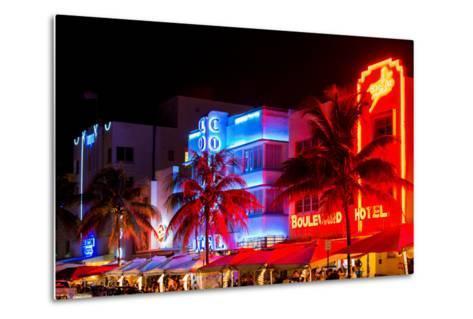 Colorful Street Life at Night - Ocean Drive - Miami-Philippe Hugonnard-Metal Print