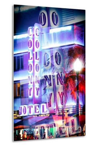 Instants of Series - Ocean Drive with the Colony Hotel by Night - Miami Beach-Philippe Hugonnard-Metal Print