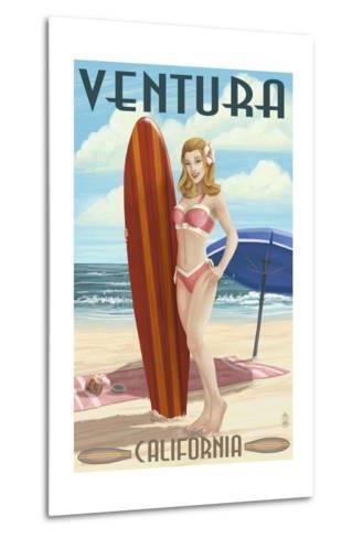 Ventura, California - Surfer Pinup Girl-Lantern Press-Metal Print