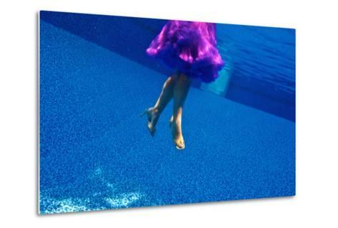 A Model Floats in a Pool, Wearing a Skirt and Heels-Heather Perry-Metal Print